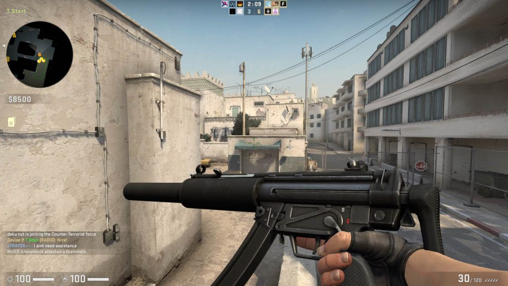 MP5-SD front view in Dust 2