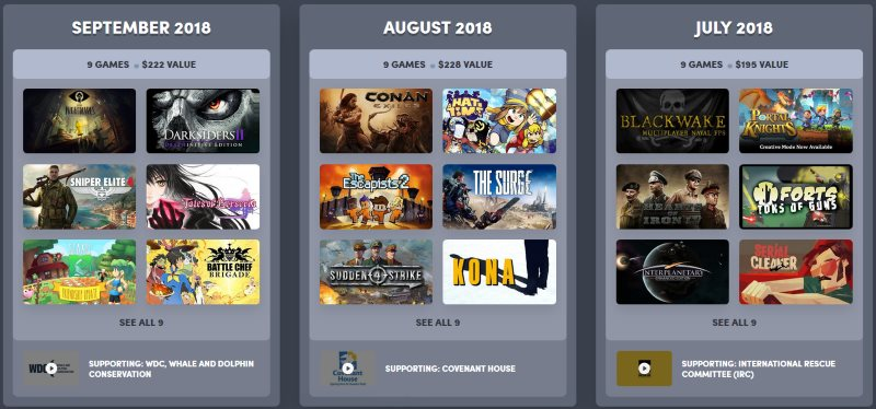 Humble Bundle Monthly Subscription Games - September 2018, August 2018 and July 2018