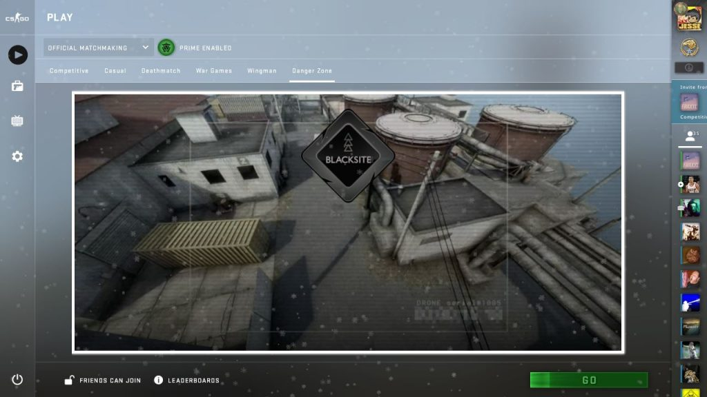 CSGO Danger Zone game mode with the map Blacksite selected within the main menu.