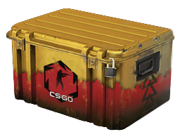 A Counter: Strike Global Offensive Weapon Case called Danger Zone that has the colors of Yellow and Red with a padlock locking it.