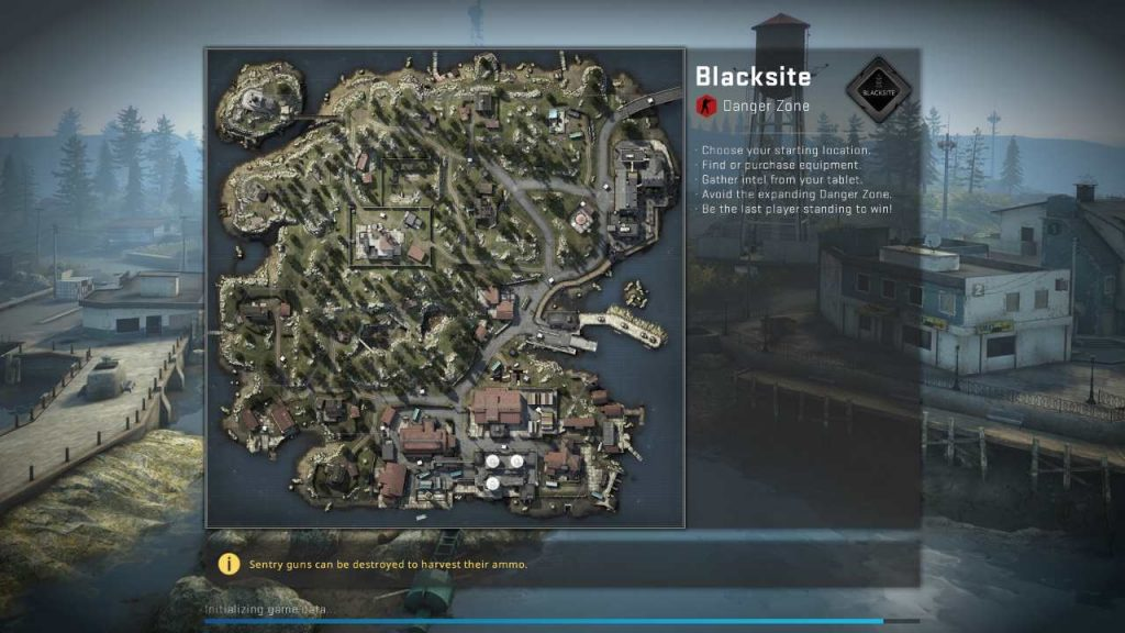 The loading screen for the CS:GO Danger Zone showing a map of Blacksite