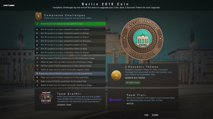 Berlin 2019 StarLadder Coin Menu