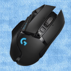 G502 Hero Wireless Gaming Mouse with a blue background