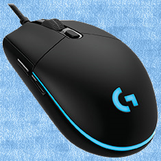 Logitech G Pro Gaming Mouse with a blue background