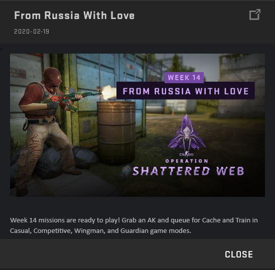 Shattered Web Week 14 Login Message