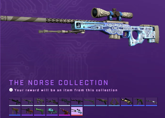 Images of The Norse Collection skins in Counter-Strike: Global Offensive.