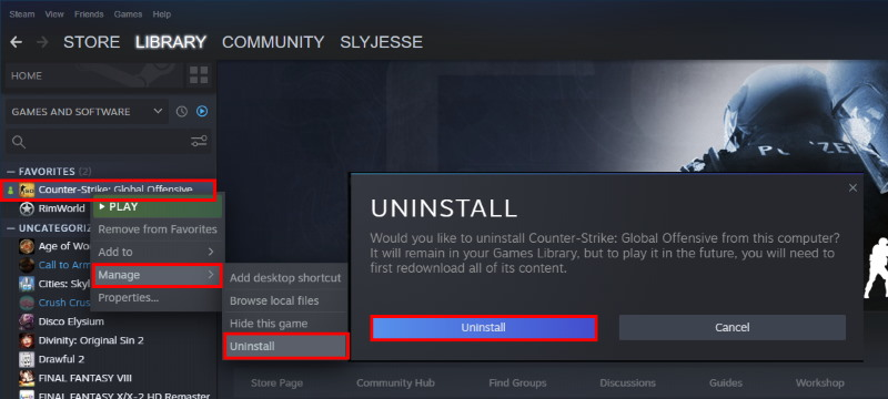 How to uninstall CS:GO