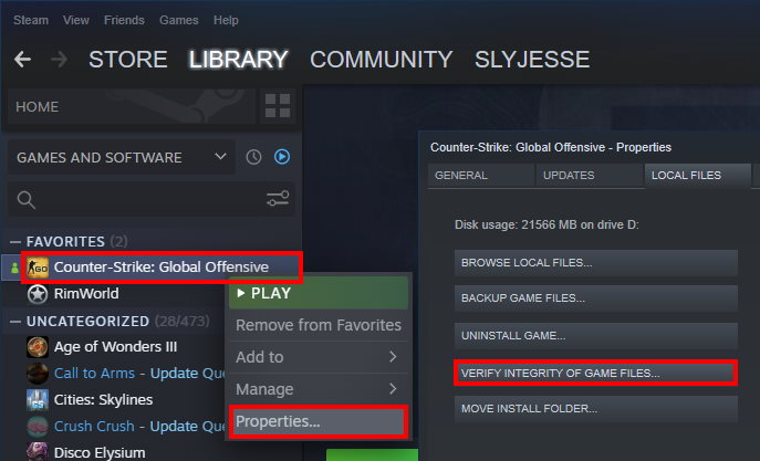 How to verify integrity of game files on steam for the game CS:GO