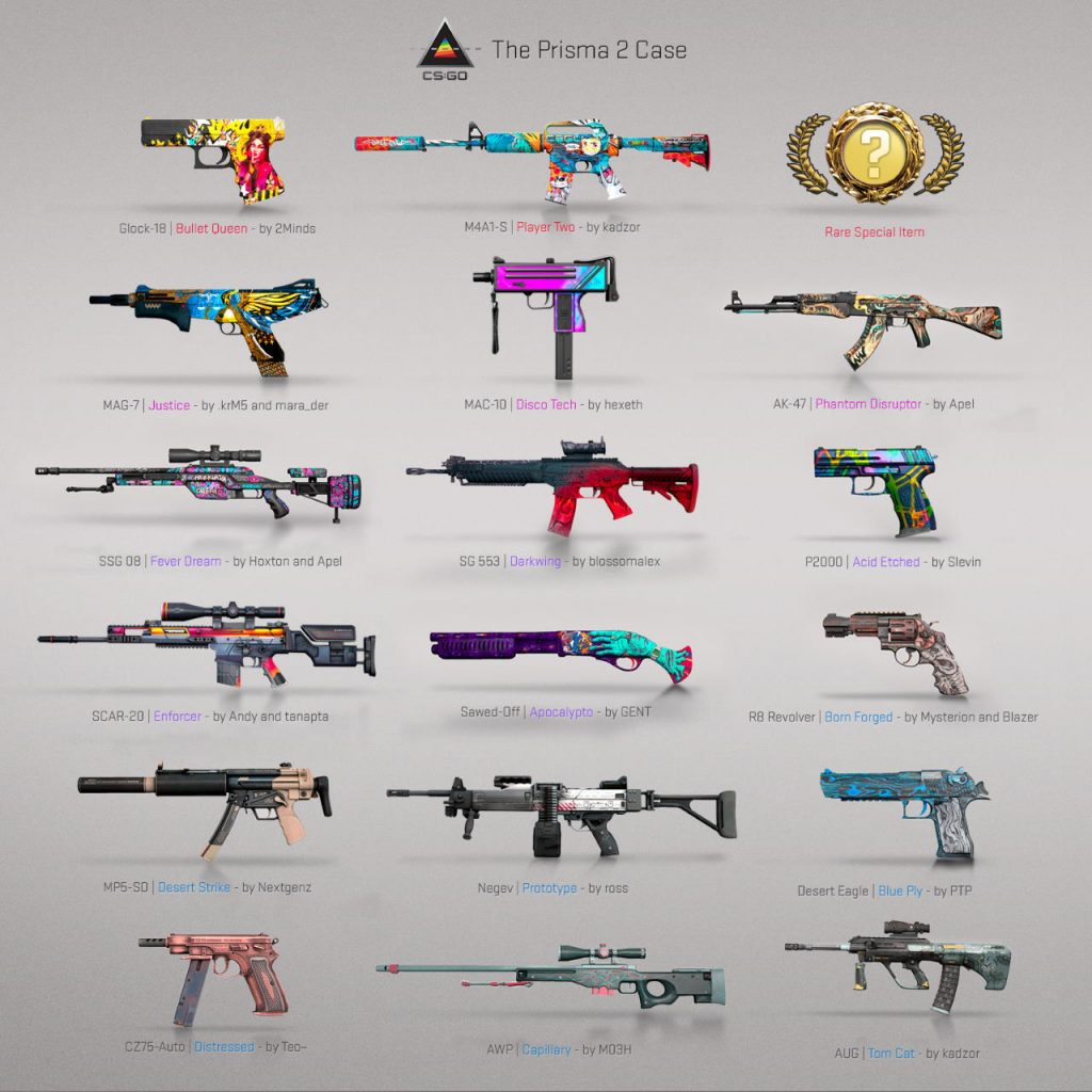 Image of all Prisma 2 Weapon Skins in CSGO