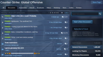 Image of the official CS:GO forum on Steam