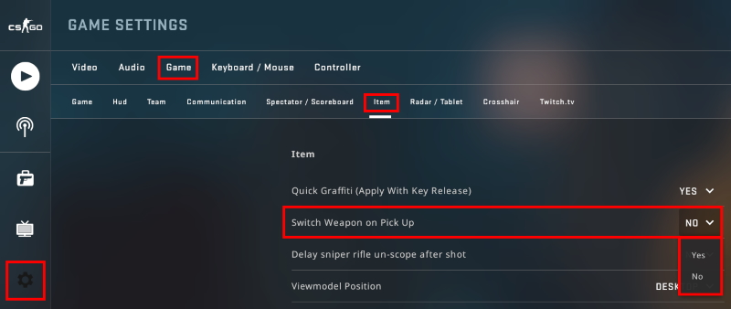 Visual Guide on how to turn off Switch Weapon on Pick Up in CS:GO