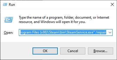 The Run program with the command to run the steam repair entered into it.