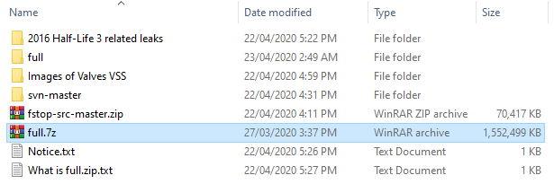 full 7z file in leaked CSGO Source code