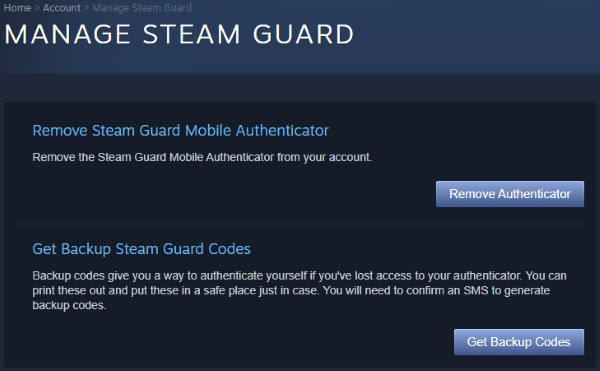 Manage your Steam Guard Page