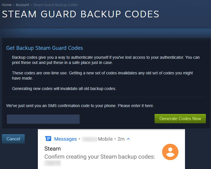 Steam Backup Codes SMS Confirmation