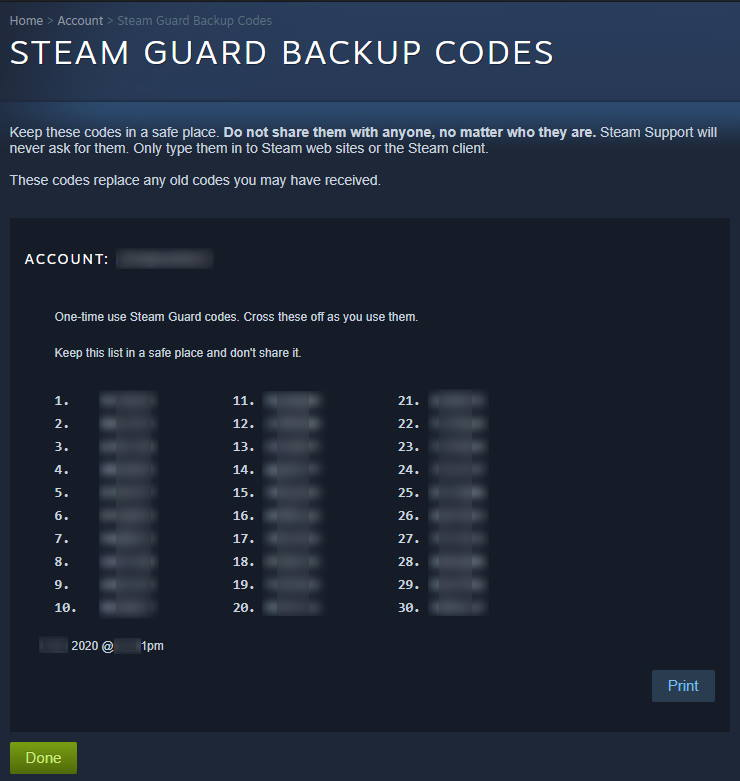 Steam Guard Backup Codes Generated Censored