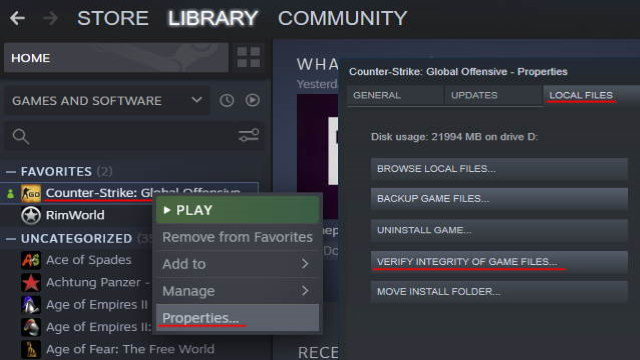 Steam Verify intefrity of game files with red marked instructions Featured Image