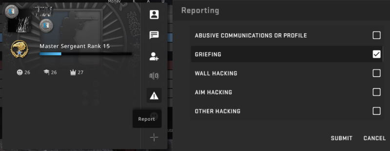 Reporting a Griefer inside the CSGO game client